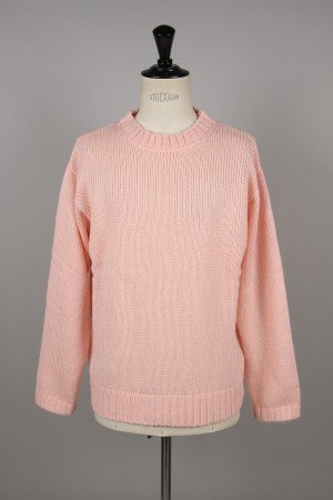Unused -Men- 3G CREW NECK KNIT -SALMON PINK- (US1644)