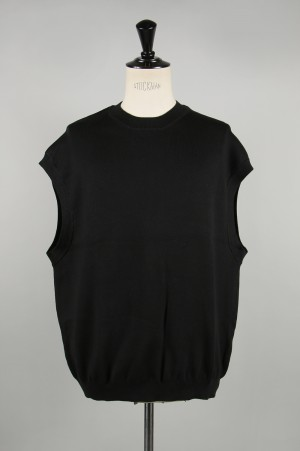 Gold SEA ISLAND COTTON CREW NECK KNIT VEST - BLACK (GL90196)
