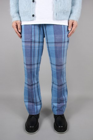 Unused -Men- CHECK PANTS -BLUE- (UW0816)