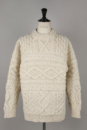 Unused -Men- HAND KNIT CABLE SWEATER -OFF WHITE- (US1702)