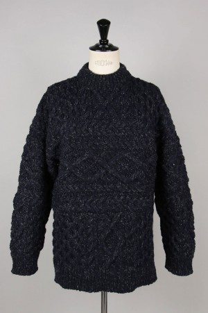 Unused -Men- HAND KNIT CABLE SWEATER -NAVY- (US1702)