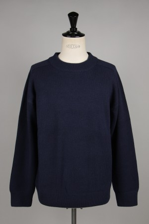 Unused -Men- 5G CREW NECK KNIT -NAVY- (US1676)