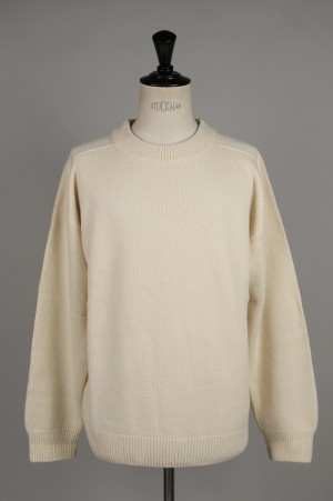 Unused -Men- 5G CREW NECK KNIT -OFF WHITE- (US1676)