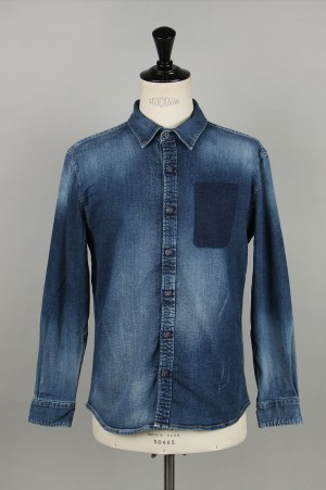 Vanquish Pocket Remove Denim Shirt-INDIGO(VJS1336)