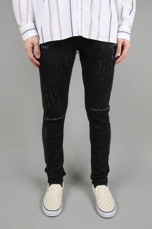 Vanquish Shotgun Damagepower Stretch Needle Skinny Denim-BLACK(VJP2248)
