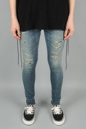 Vanquish Hard damage remake power stretch Needle skinny denim-INDIGO(VJP2246)