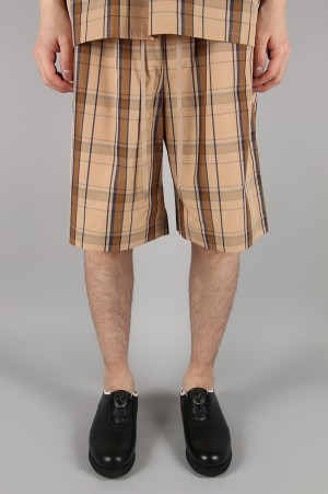 Scye Basics -Men- Cotton Check Easy Shorts -SALMON- (1119-81067)