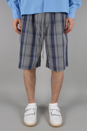 Scye Basics -Men- Cotton Check Easy Shorts -BLUE- (1119-81067)