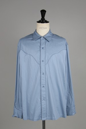 Unused -Men- WESTERN SHIRTS -BLUE- (US1537)