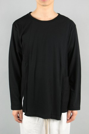 Ground Y Turn Back Long Sleeve Cut and Sew / BLACK (GC-T01-011-2A19)